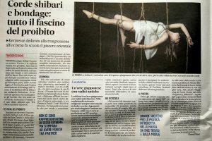Articolo del gazzettino sullo shibari a Treviso