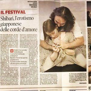 Articolo di giornale sul contributo di Shibari Loft nel diffondere la cultura dello shibari a Treviso al festival Nipponbashi Matsuri